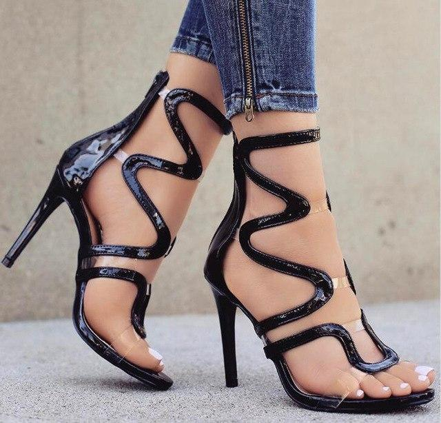 The Squiggy Open Toe Patent Leather Heels - The Urban Doll