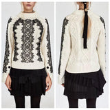 Button Sleeved Lace Pullover Knit Sweater - The Urban Doll