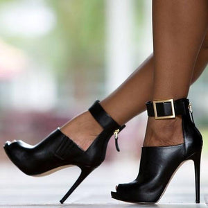 Buckle Strap Peep Toe High Heel Booties - The Urban Doll