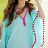 Aqua Chiffon Pink Pompom Swimsuit Cover Up - The Urban Doll