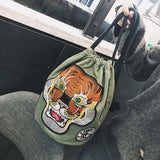 Oriental Tiger Embroidered Canvas Tote - The Urban Doll