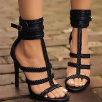 Braided Bandage High Heel Sandals - The Urban Doll