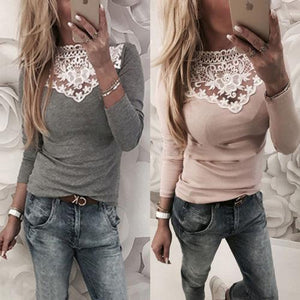 Warm Long Sleeve Knitted Lace Top - The Urban Doll