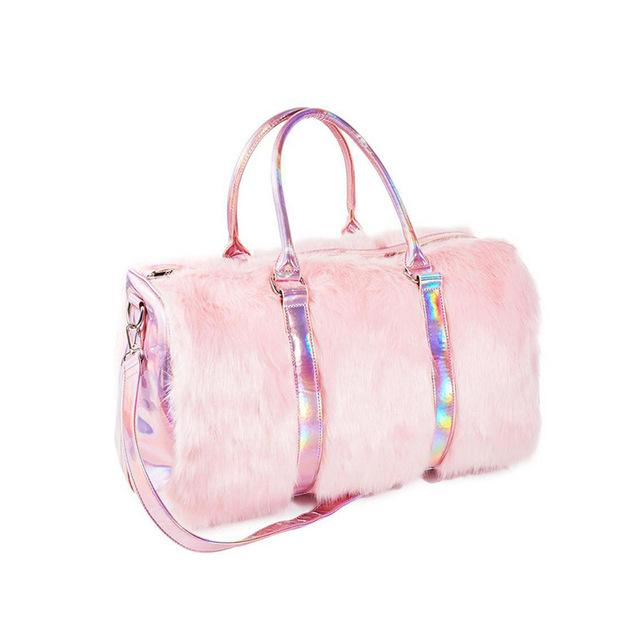 Rainbow Holographic Soft Pink Faux Fur Travel Tote - The Urban Doll