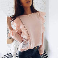 Chiffon Lace Long Sleeve Ruffle Blouse - The Urban Doll