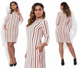 Striped Plus Size Straight Dress - The Urban Doll