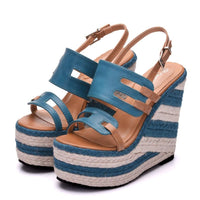 Striped Platform Wedge Sandals - The Urban Doll