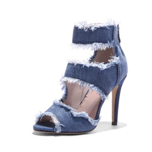 Frayed Blue Denim High Heel Sandals - The Urban Doll