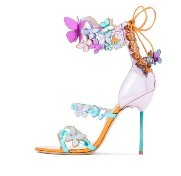 32dbe88083a Butterfly Metallic High Heel Sandals - The Urban Doll