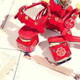 Red Boho PomPom Sandals - The Urban Doll