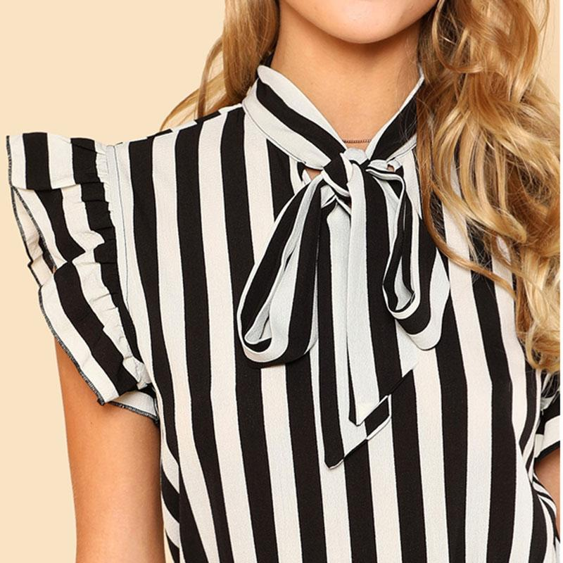 Black and White Tie Neck Butterfly Sleeve Striped Blouse - The Urban Doll