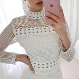 Vintage Crochet Mock Neck Long Sleeve Dress - The Urban Doll