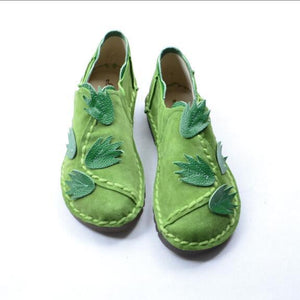 Pixie Leaves Genuine Leather Loafers - The Urban Doll