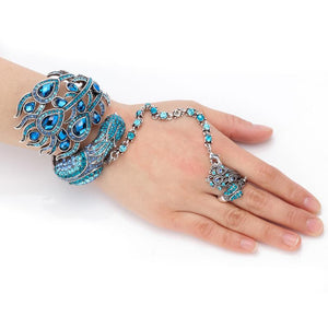 Crystal Peacock Bangle Bracelet and Ring Set
