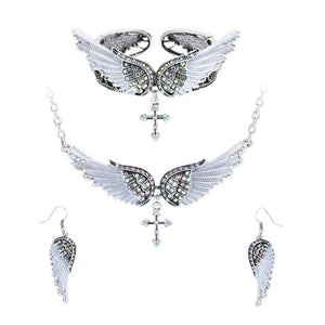 Angel Wings Cross Necklace Earrings Bracelet Set (8 Colors) - The Urban Doll