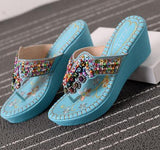 Beaded Bohemian Wedge Sandals - The Urban Doll