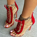 Golden Strappy Lace Up High Heel Sandals (2 Colors) - The Urban Doll