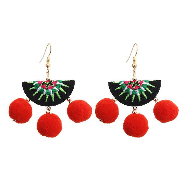 Watermelon Pom Pom Boho Earrings - The Urban Doll