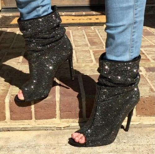 Black Sparkle Crystal Rhinestone Peep Toe High Heel Booties - The Urban Doll