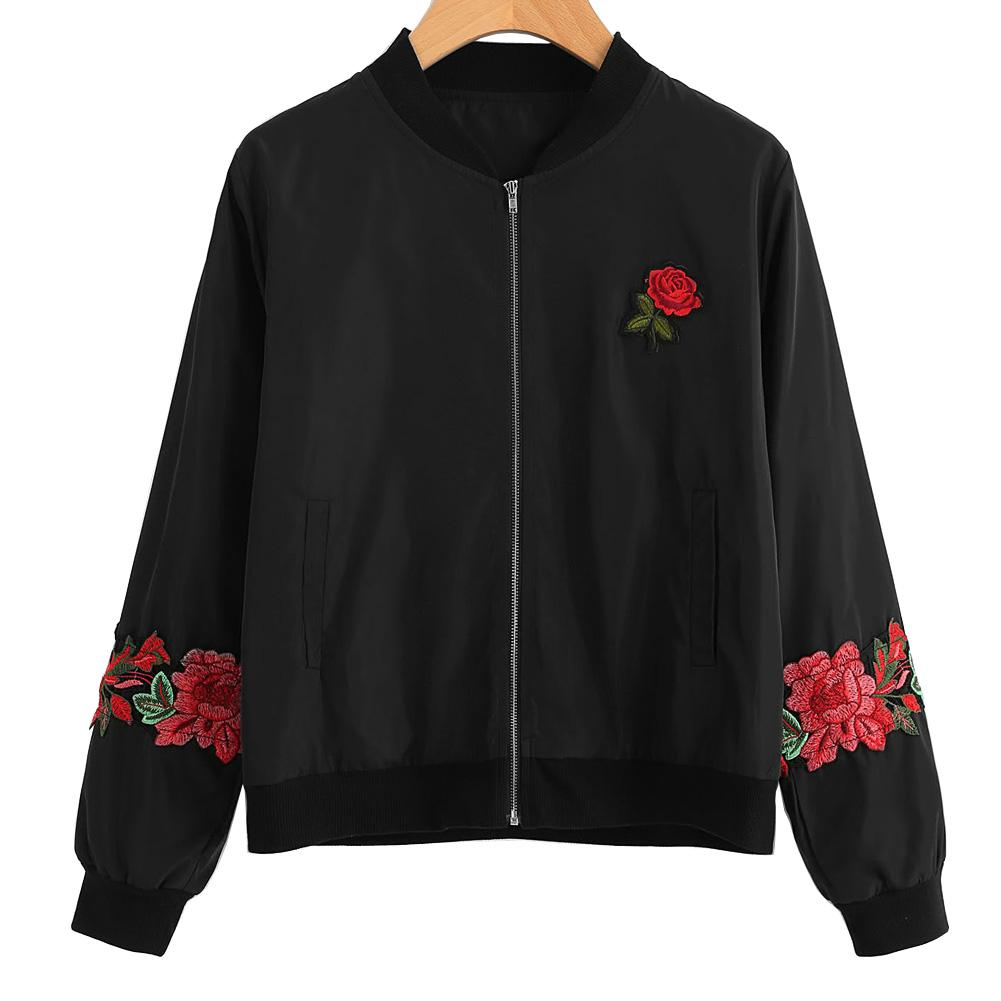 Rose Embroidered Casual Bomber Jacket - The Urban Doll