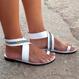 Ankle Strap Flat Gladiator Sandals (3 Colors) - The Urban Doll