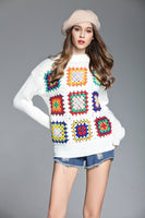 White Boho Vintage Squares Crochet Knit Pullover - The Urban Doll