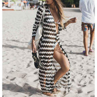 Boho Striped Lace Beach Cover Up Robe - The Urban Doll