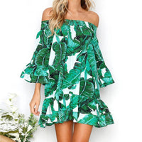 Banana Leaf Off The Shoulder Ruffle Beach Dress - The Urban Doll