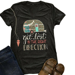 Get Lost In The Right Direction V-Neck T-Shirt - The Urban Doll