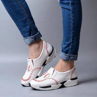 Baseball Genuine Leather Slip On Sneakers - The Urban Doll
