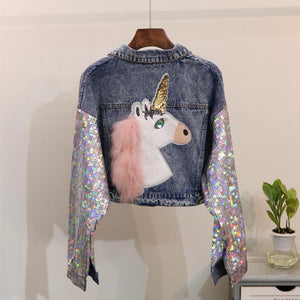 Unicorn Sequin Sleeve Denim Jacket