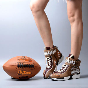 Football Genuine Leather Vulcanized Sneakers - The Urban Doll
