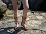 Crystal Crown Genuine Leather Gladiator Sandals - The Urban Doll