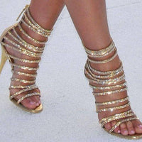 Crystal Strappy Gold High Heel Sandals - The Urban Doll