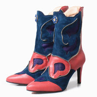 Genuine Leather Patchwork Zipper Ankle Boots - The Urban Doll