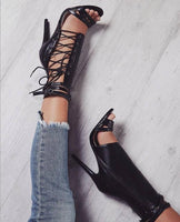Buckle Strap Gladiator Lace Up High Heel Sandals - The Urban Doll