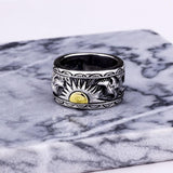 Eagle Sun Totem Solid 925 Sterling Silver Ring - The Urban Doll