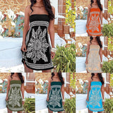 Strapless Floral Bohemian Beach Dress (8 Colors) - The Urban Doll