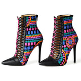 Bohemian High Heel Ankle Booties - The Urban Doll