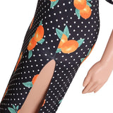 Polka Dot Orange Two Piece Maxi Dress - The Urban Doll