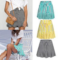 Striped Pleated Flounce Skirt