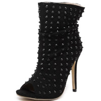 Black Rivet Peep Toe Booties - The Urban Doll