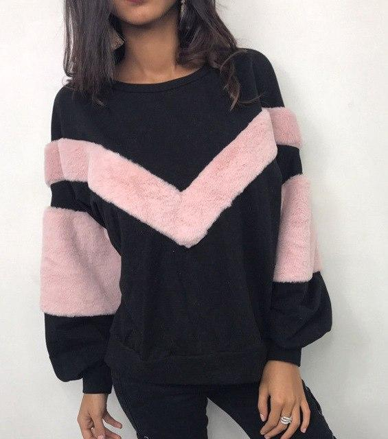 Plush Patchwork Pullover Sweatshirt - The Urban Doll