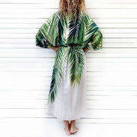 Tropical Palm Thigh Split Beach Kimono - The Urban Doll