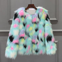 Pastel Spotted Faux Fur Overcoat - The Urban Doll
