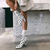 Crescent Moon Stretch Fabric Ankle Boots - The Urban Doll