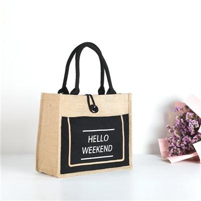 Hello Weekend Linen Tote - The Urban Doll