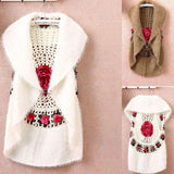 Rose Crochet Cotton and Wool Vest - The Urban Doll