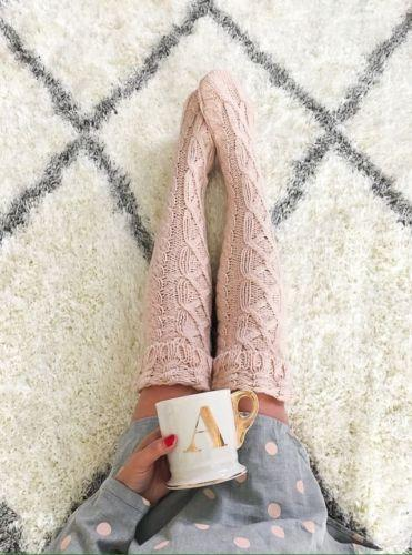 Cable Knit Over the Knee Stockings - The Urban Doll