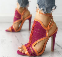 Bermuda Braided Lace Up High Heel Sandals - The Urban Doll
